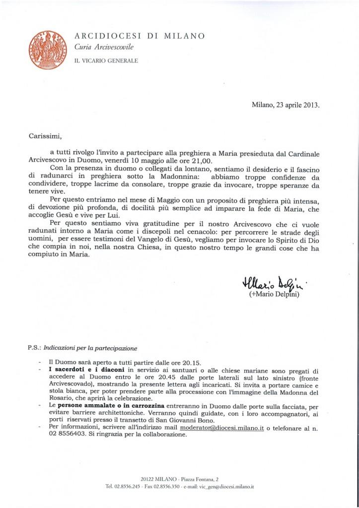 lettera Vicario Generale per Rosario