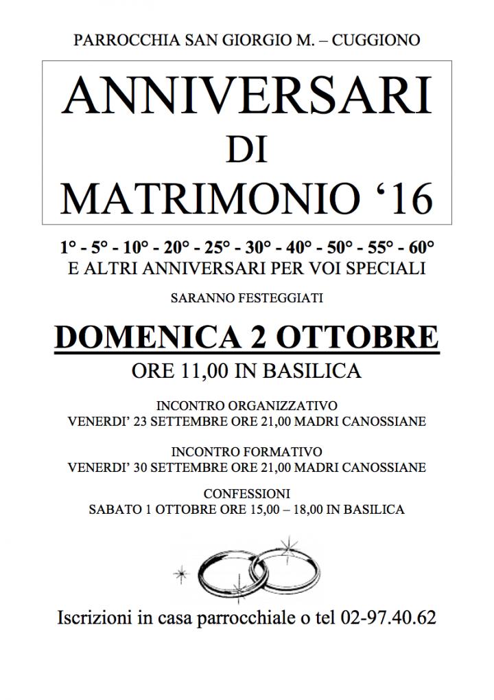 Anniversari matrimonio 2016
